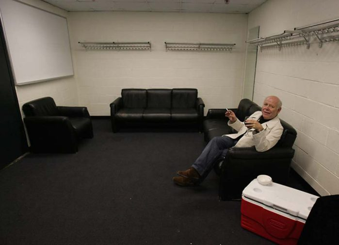 The Who's onstage sound engineer Bob Pridden enjoys some time alone following The Who's second show at Madison Square Garden on Sept. 20, 2006.