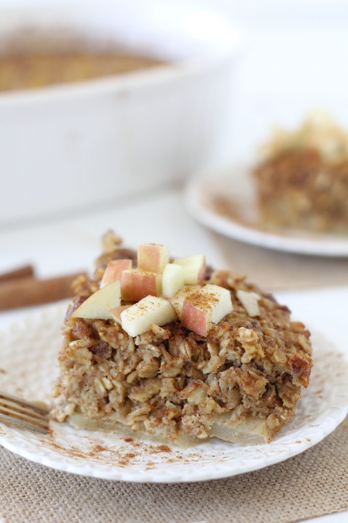Pumpkin + Apple Oatmeal Bake from the Whole Smiths. An easy to make breakfast perfect for fall mornings.