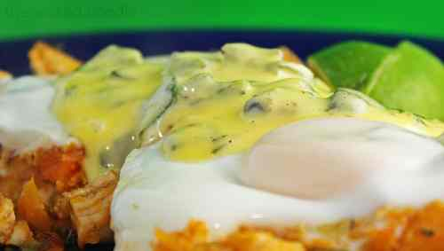 sweet potato chicken hash and poached eggs with green chile hollandaise