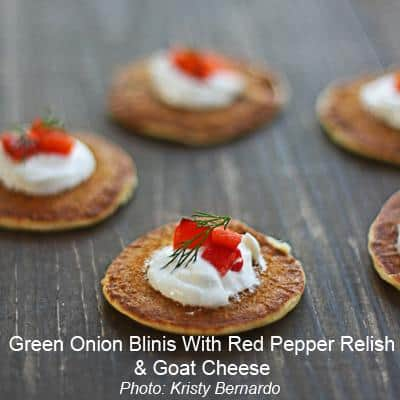 goat cheese blinis