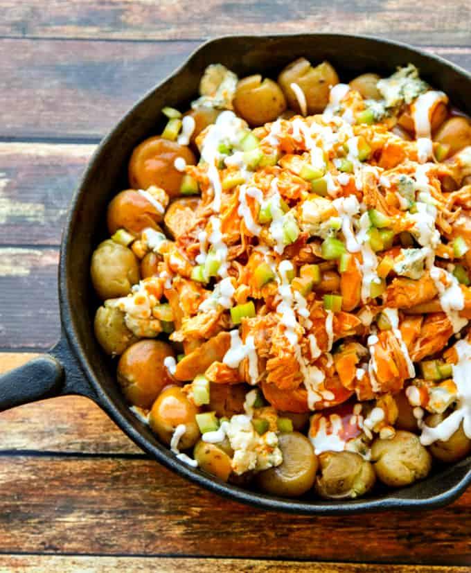 buffalo chicken & potato skillet {one-pan dish}