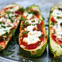 zucchini stuffed with goat cheese & marinara {3-ingredient recipe}