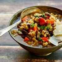 Mushroom Barley Soup with Shaved Parmesan