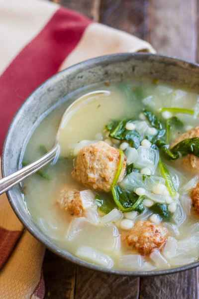 Easy Meatball Soup with Pearl Couscous - The Wicked Noodle