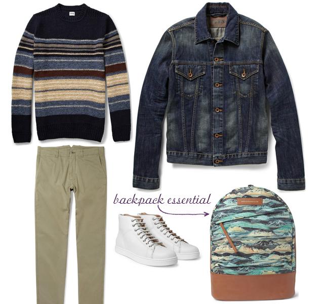 want_les_essentials_de_la_vie_backpack_denim_jacket_outfit_selection_ronan_summers