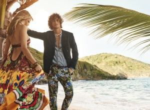 Marlon Teixeira and model showing the Tommy Hilfiger SS16 collection in Mustique