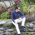 Menswear blogger Ronan Summers is visiting Hong Kong, and shows around Sha Tin area in Tommy Hilfiger SS16 collection, white chinos and striped crew neck sweater
