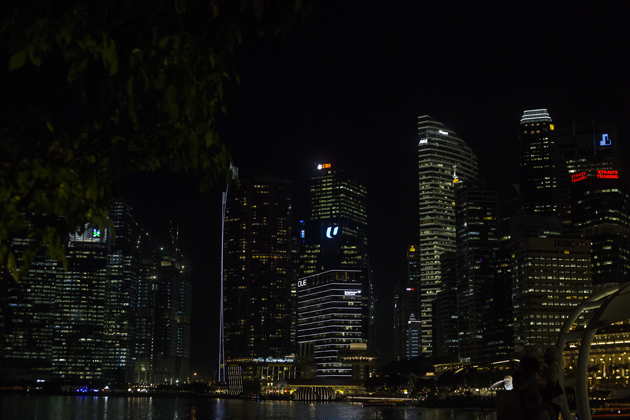 Singapore skyline at Night, captured by Travel blogger Ronan