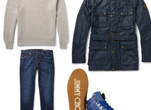 Outfit selection hand picked by blogger Ronan Summers, suggesting what to wear, from Belstaff rain-proof jacket, to the uber stylish Jimmy Choo croc-style high top sneakers
