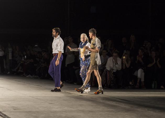 Designer dame Vivienne Westwood being applaused