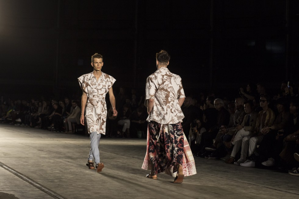 Vivienne Westwood MAN runway show in Milano during Moda Uomo, showing men and women together