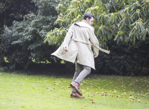 Menswear blogger Ronan Summers wearing a classic British trench coat and a pair of handcrafted tan monk shoes by Koch & Co