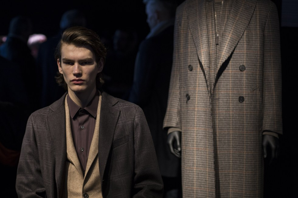 Canali presentation during Milano Moda uomo 2017, model wearing a well tailored suit and overcoat