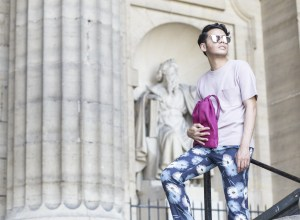 Ronan Summers wears Maison valentino flower print trousers