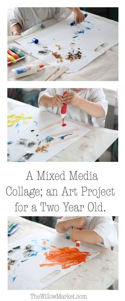 an art project for a two year old. mixed media collage. craft for a two year old.
