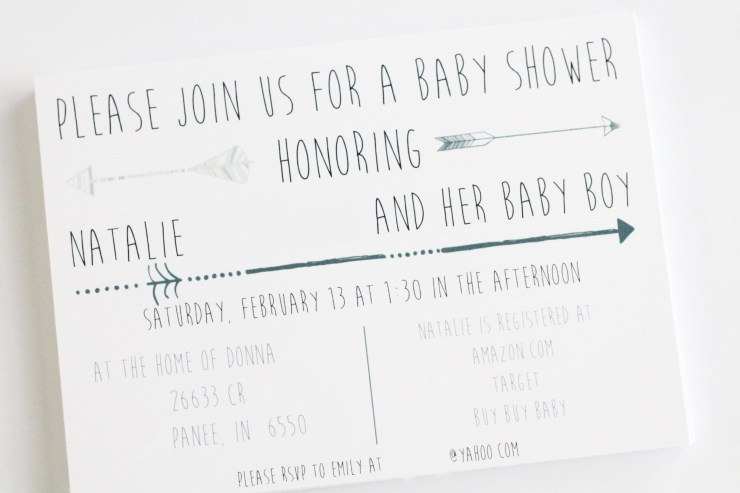 Aztec or arrow themed baby shower invitation.