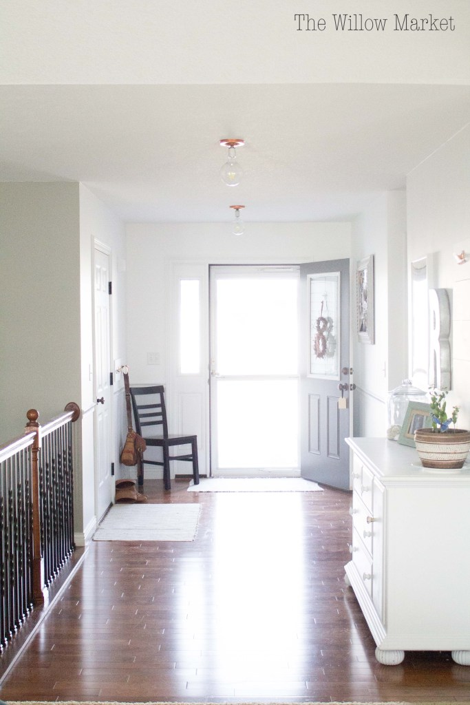 Before and after entry way. Benjamin Moore Chantilly lace and iced cube silver paint.