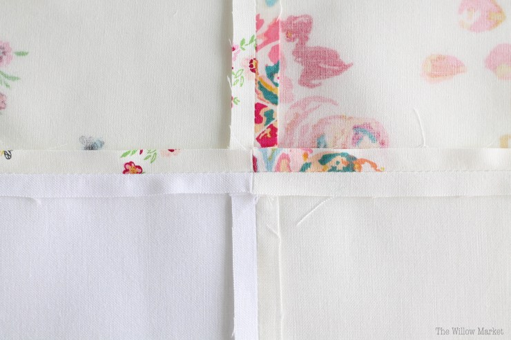 How to sew a simple patchwork, single panel curtain. Perfect fabrics for spring!