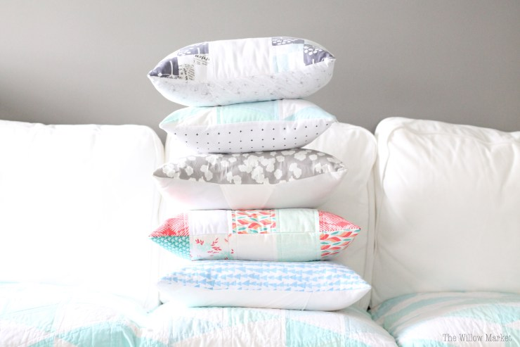 A stack of springy quilted pillow covers. The Willow Market Etsy Shop.
