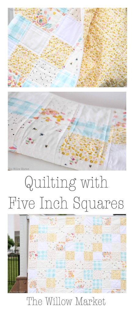 Quilting a throw sized quilt with five inch squares.