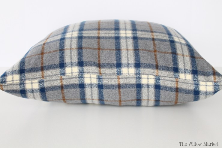 Navy Blue Plaid, Flannel Pillow Cover