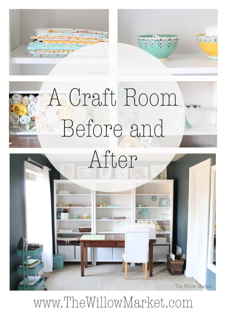 A Craft Space Before and After. Sewing Room Inspiration. Craft room inspiration.