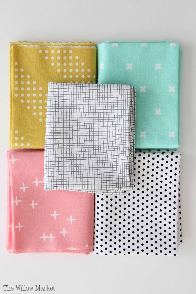 Summer Fabric Bundle, mint green, pink, mustard yellow, black & white bundle. Cotton quilting fabric.