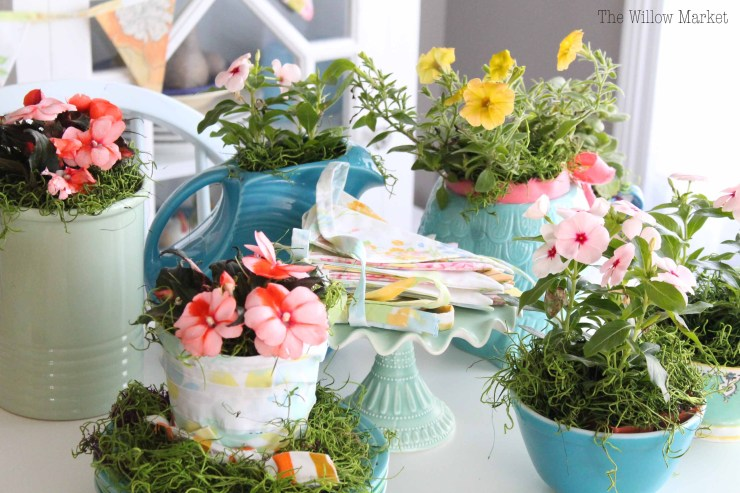 Summery and colorful wedding shower. Live flowers. Centerpieces. Vinca flowers. Petunias. Vintage Pyrex.