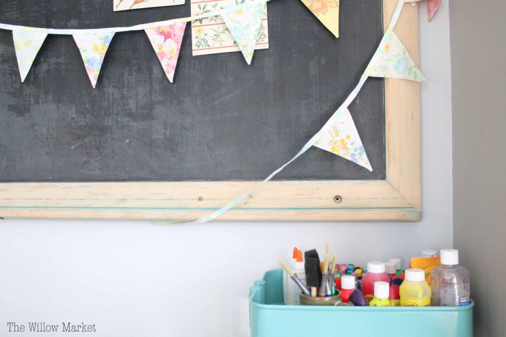 Vintage chalk board, vintage sheet bunting, breakfast nook.
