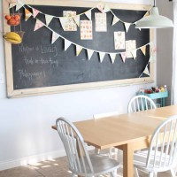 Vintage chalk board, vintage sheet bunting, breakfast nook.