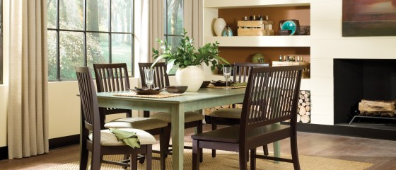 WhiteWood Espresso and Moss Green Dining Set
