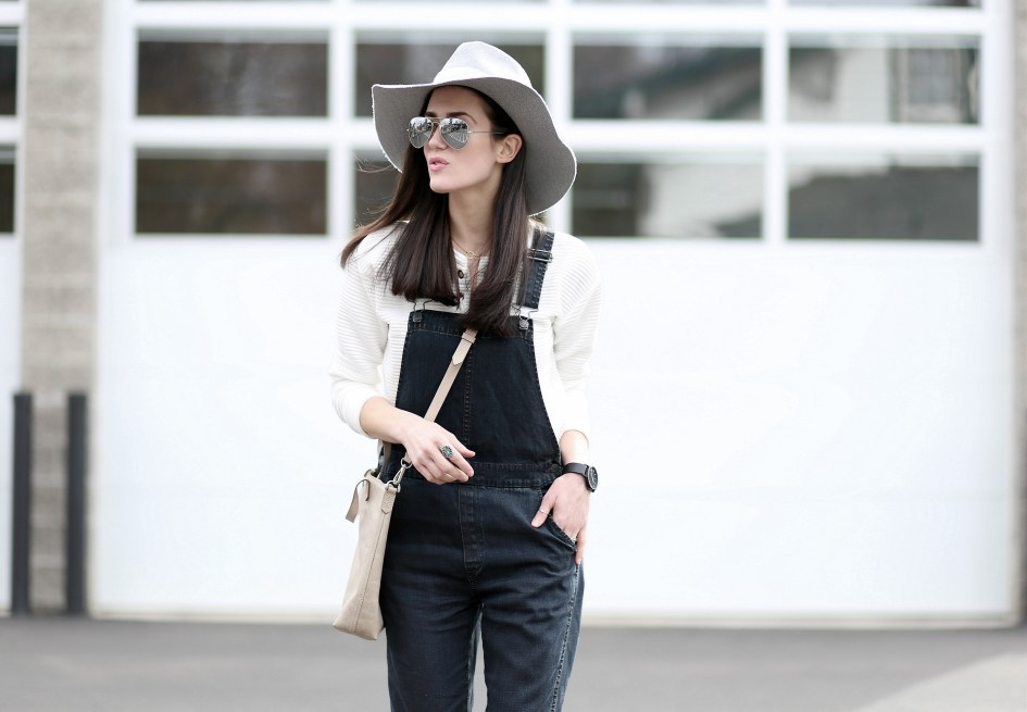 Black Overalls Grey Hat 2a