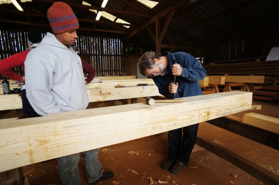 Chisel Work on a Timber Frame