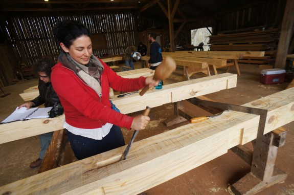 Cutting a Mortise at Timber Frame Workshop