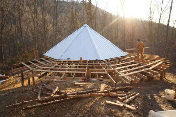 Porch Roof on Off-Grid Straw Bale Cabin