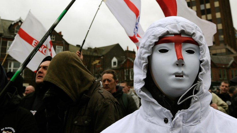 Scene of a protest by the English Defence League. Image credit: Channel 4