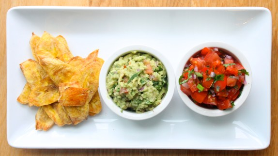Guacamole and salsa with plantain chips