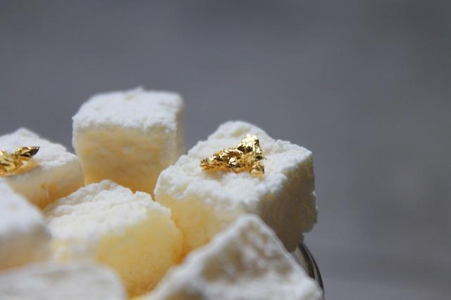 Pierre Hermé Émotion Céleste - gold leaf on passion fruit marshmallow