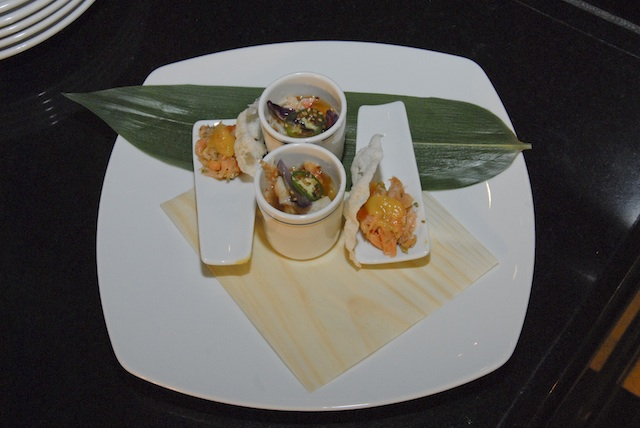 First Course: Otsumami - King Crab Namban, Tea Smoked Salmon with Puffed Rice & Green Chilli Salsa
