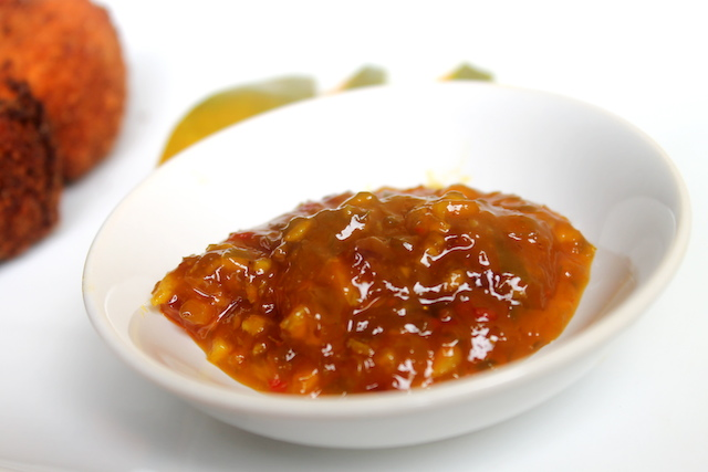 Serve with fruit preserve, I recommend mango chutney