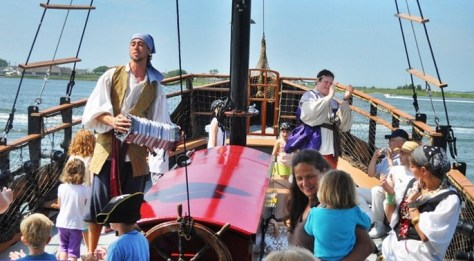 Young buccaneers set sail in search of treasure aboard the Dark Star. | nj pirate cruise | new jersey pirate cruise | pirate ship rides in nj | pirate ship rides in new jersey