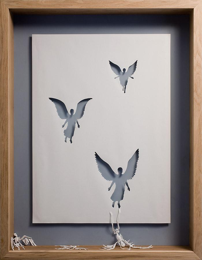 Dead Angels, 2007  Acid Free paper, glue, acrylic paint, and oak frame. 127 x 94 x 11,5 cm.