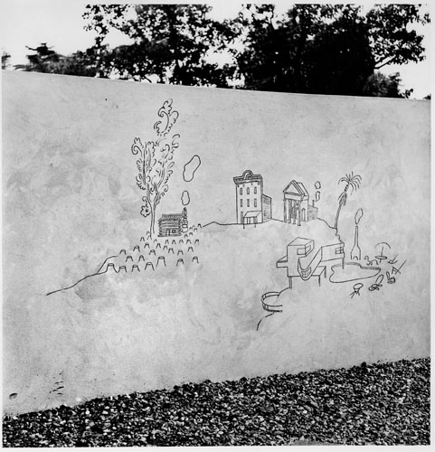 Children's Labyrinth, 1954. 10th Milan Triennial, detail of History of Architecture section of mural.