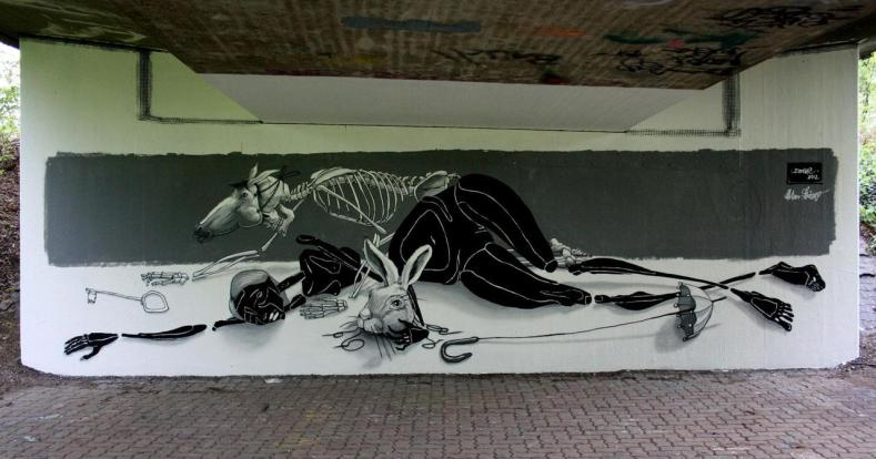 Des Todes Bruder (death's brother) 2,3m x 8,2m Karlsruhe/Germany-Entenfang-an der Alb 2012