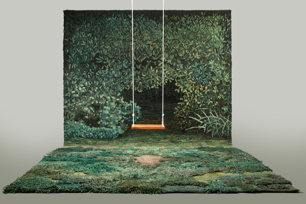 Shelter for a Memory by Alexandra Kehayoglou. Wool, paint, wood, rope. 2012.