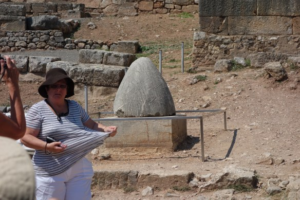 Omphalos, Umblicus, considered center of the world at the God Appolo Temple entrance.