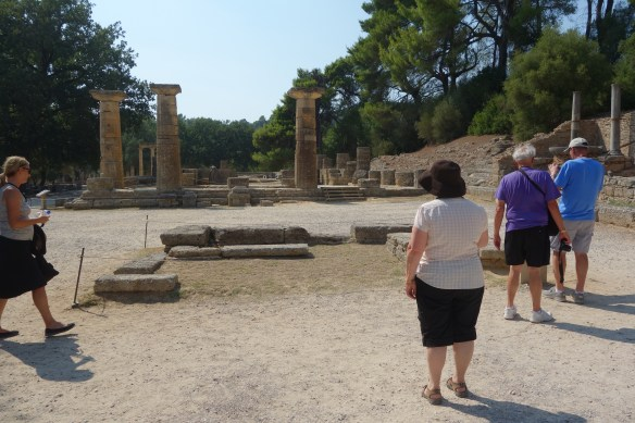 Temple of Hera with Altar in the front in Olympia near original Olympic Stadium Gate.