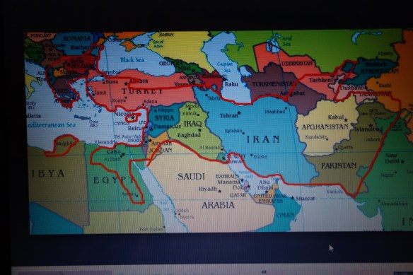 Empire under Alexander the Great 323 BC. ( red line circle)It shows current Muslim states conquered. Greek literature spread to Muslim lands during this period.