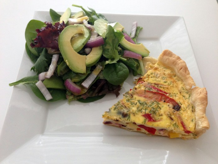 roasted carrot, pepper and feta quiche