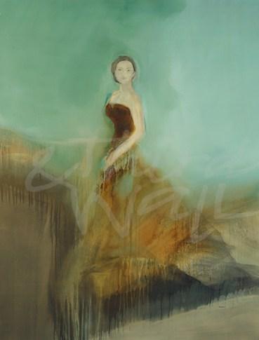 figurative transitional, seattle art, contemporary, woman, female, fashion, romance, gold, aqua